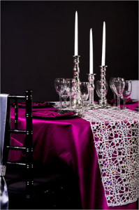 creativecoveringsSilver Metallic Lace_Berry Dupioni_Small