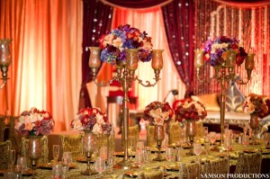 Red and Gold Wedding Decor Photo Courtesy  of Samson productions
