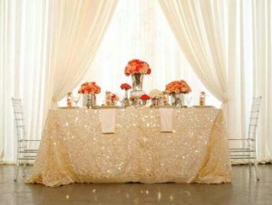 Sequenced Champagne Wedding Linen and Tablecloth