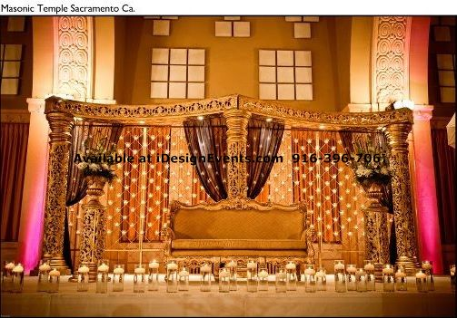 Crystal Pearl Amp Gold Mandap Rental Indian Ceremony