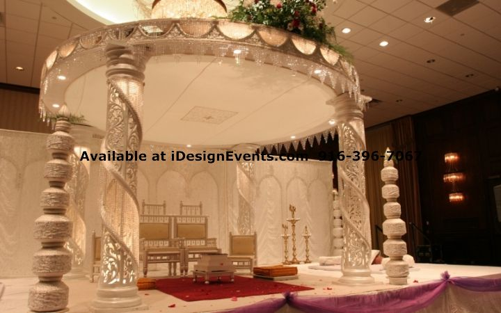 rent wedding reception decorations white amp pearl mandap rental indian ceremony 7067