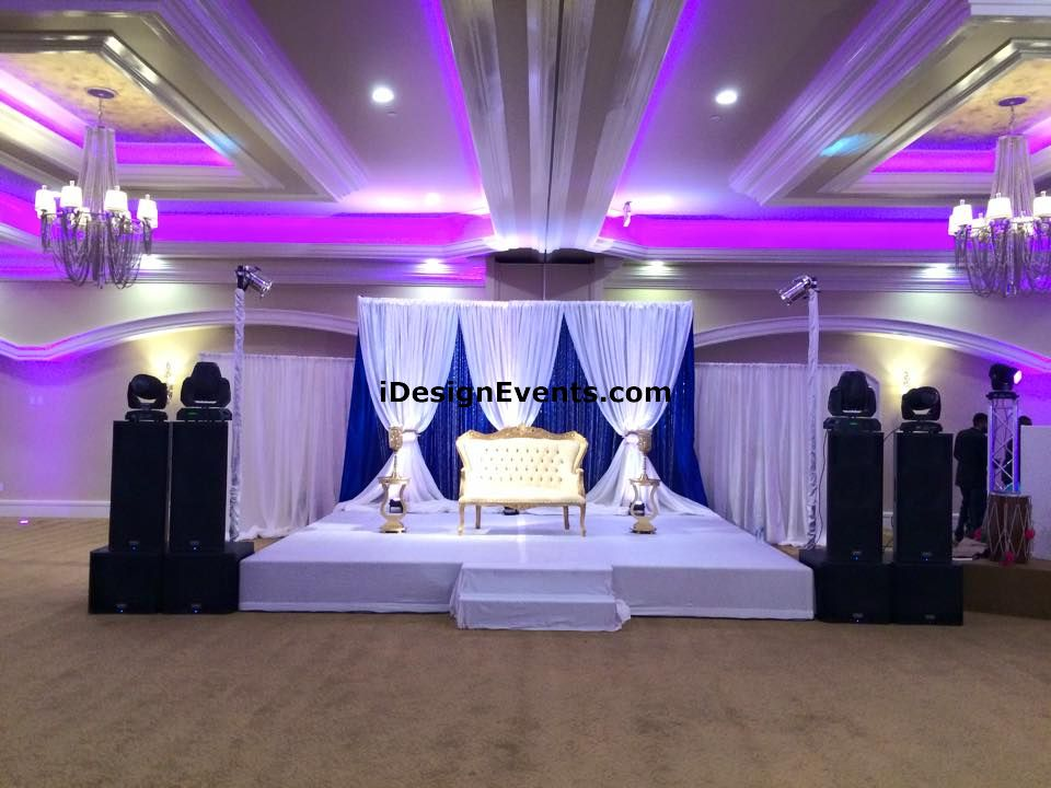 Royal blue gold wedding decor ideas indian backdrop design for Event planning decorating ideas