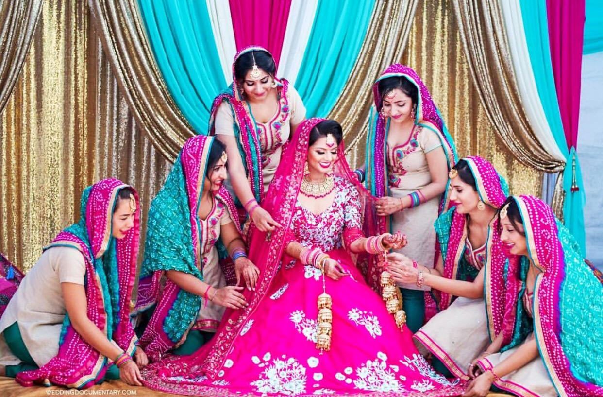 Hot Pink and Aqua Henna or Mehndi Decor Idea   Sangeet